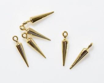 Corn Stud Brass Pendant (Small), Slim Stud. Jewelry Craft Supply . 16K Polished Gold Plated over Brass- 4pcs / IA0061-PG