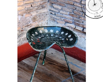 Metal stool with Tractor seat Antique French original | Old Tractor Seat Stool, 1900-1950s, Made in France