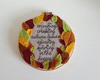 HALF PRICE SALE, Autumn leaves hoop, Fall leaves, Autumn colours handmade decorative 6 inch hoop