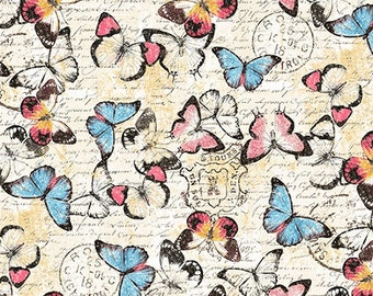 Botanical Butterflies Fabric - Yellow - sold by the 1/2 yard