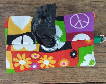 Happy Colorful Hearts Flowers and Peace Doggie Waste Bag Dispenser Keychain