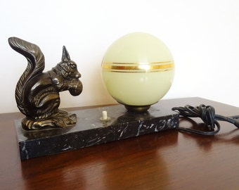 Antique French pilot Art Deco 1930s s-lamp marble to the squirrel with yellow nets glass globe Golden/illuminati10