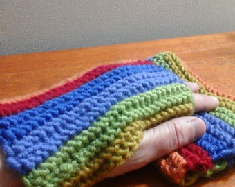 Rainbow Hand-knitted Fingerless Gloves-ready to ship
