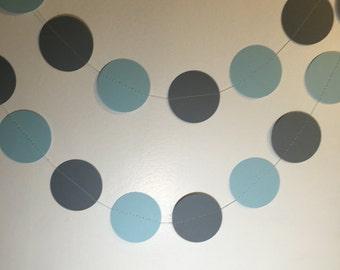 Blue and Grey paper garland, baby shower garland, birthday party garland, wedding garland 7 ft.