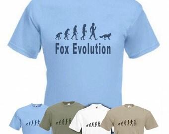 Evolution To Fox t-shirt Funny Red Fox T-shirt sizes Small TO 2XXL