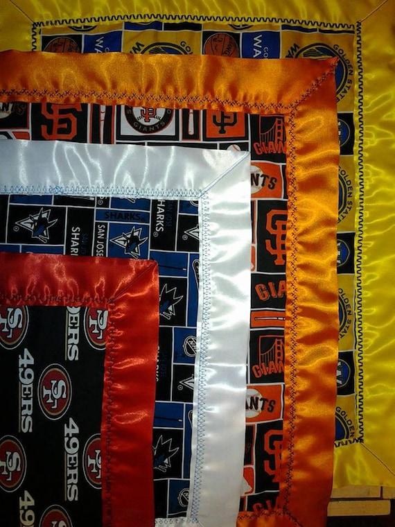 Silk edge custom handmade baby blanket mankie washable for Bay area custom shirts