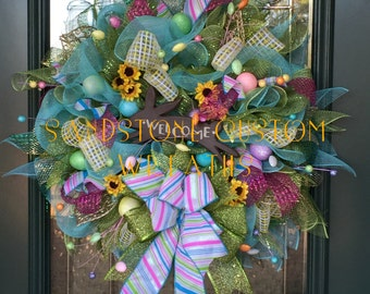 Welcome, Spring, Easter, Deco Mesh, Wreath
