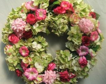 SUMMER HYDRANGEA and ROSES Wreath, Door Wreath, Silk Flower Wreath, Cottage Wreath, Hand Crafted Wreath, Silk Wreath,