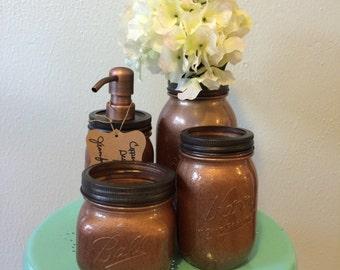 4 Piece Copper Mason Jar Bathroom Set