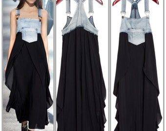 Backless Patch Work Front Pocket Chiffon & Denim Dress