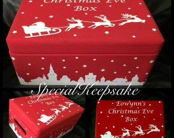 Personalised Christmas Eve Box Storage Fun Festive Treats Children Magical Memories Solid Pine
