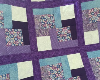 Modern Lap Quilt in Beautiful contrast of Purple, White and Light Blue