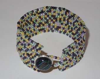 Herringbone Bracelet in Purples and Greens