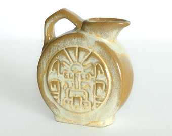 Frankoma No. 551 Mayan Aztec Design Desert Gold Minature Pitcher 1950s