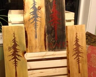 "Wood ""Peace"" Redwood Decor"