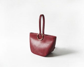 Dark Red Handbag with Silver Buckle