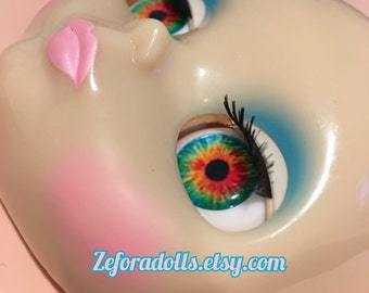 Realistic Rainbow Color Soft Resin Eye Chips For Blythe (14 mm)
