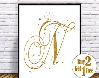 SALE: Letter N Print, Letter poster, Letter Art print, Letter Decor, Painting, Letter Wall Art, Letter Wall decor, Gold Art print 5