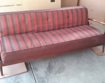 Mid Century Danish Modern Wood Sofa Bed