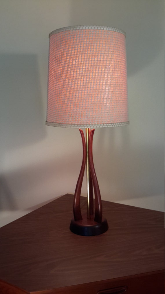 mid century wood table lamp by prorefinefurnishings on etsy. Black Bedroom Furniture Sets. Home Design Ideas