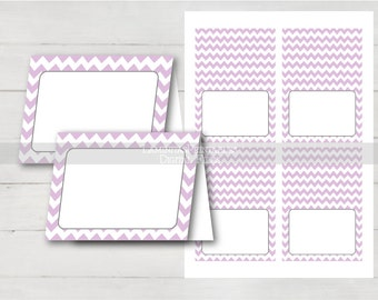 baby shower place cards, lavender place cards, lavender tent cards, food tents, food tent cards, place card template, place cards printable