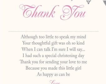 PERSONALISED Christening/Baptism Thank You Cards Pink Bunting Cream Background