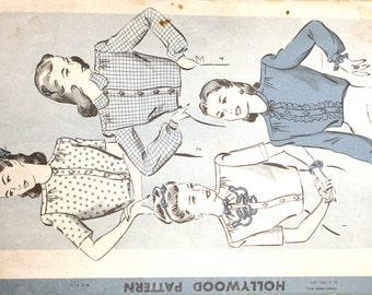 Hollywood 1555 Vintage 1930s Blouse Pattern Size 16