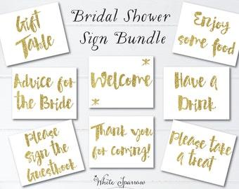 Gold Bridal Shower Signs, 8x10. Bridal Shower Decorations. Gold Bridal Shower. Bridal Shower Sign, signs for bridal shower, gold shower