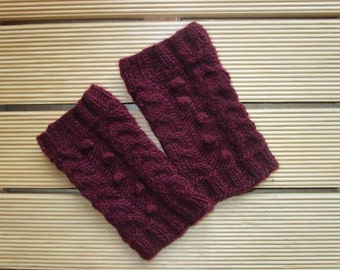 Knit boot cuffs Knit boot socks Knitted boot buffs Leg warmers boot Burgundy boot cuffs Valentines gift Present for her Birthday gift