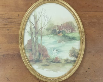 Oval Framed Vintage Watercolor Print ~ Pastoral lakeside Country Cottage Scene, Swan, Landscape Picture ~ Homco