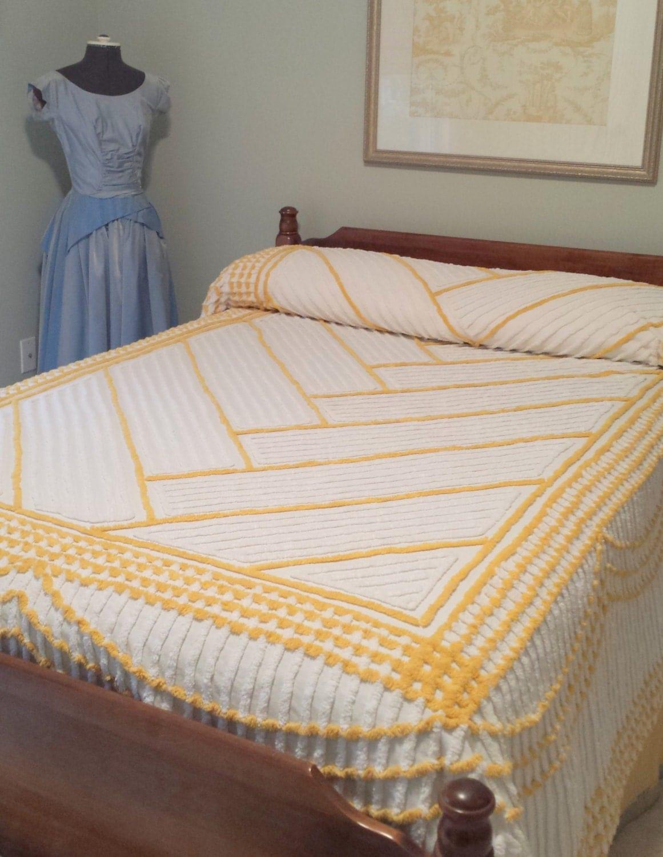 Chevron Chenille Bedspread Full Double Queen Sunny Yellow