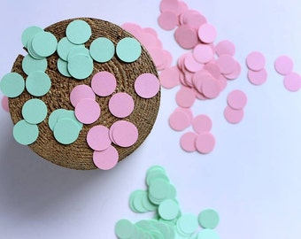 Mint Green and Blush Pink Confetti, Dots Confetti, Bridal Shower, Table Scatter, Wedding Confetti, Party Decoration Dots, Small Circles