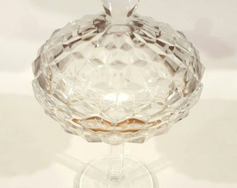 Tall Whitehall Covered Clear Candy Dish
