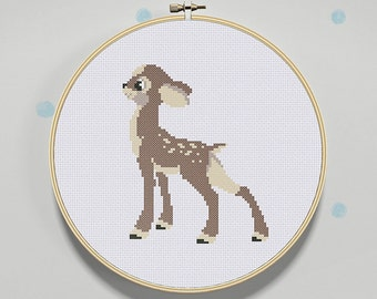 Easy Cross Stitch Pattern Fawn Baby Deer PDF Instant Download