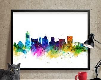 Memphis Skyline Watercolor Memphis Tennessee Art Print Cityscape Artwork Memphis Poster