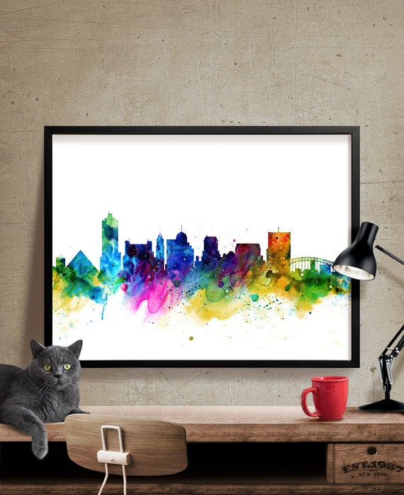 Memphis skyline watercolor memphis tennessee art print Home decor stores memphis tn