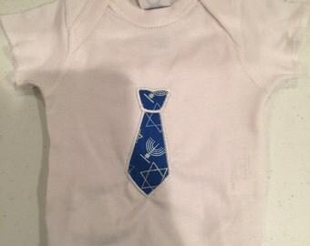 Embroidered Hanukkah Chanukkah Applique Tie White Bib Handmade