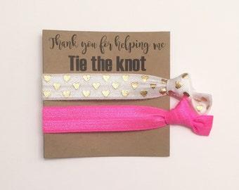 SALE Bridesmaid hair tie favors//hot pink & gold hearts//hair tie card, hair tie favor, bridesmaid gift, bachelorette gift, party favor, ela