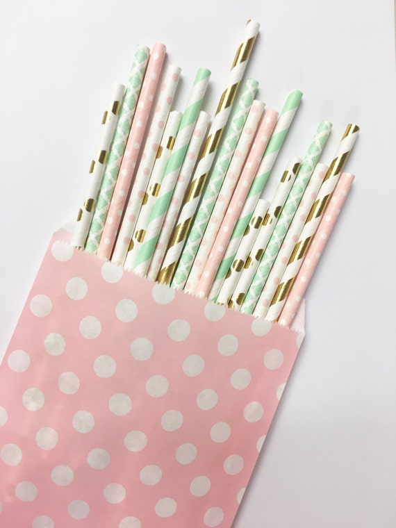 Minted Gold Dot straw mix//paper straws, party supplies, party decorations, bachelorette party, baby shower, birthday party, straws