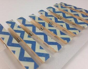 Blue Chevron Clothespins