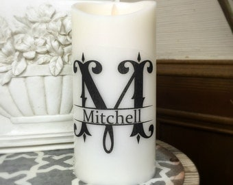 Monogrammed Candle - Personalized Wedding Gift - Flameless Candle - Wedding Gift - Personalized Gift - Flameless Pillar Candles