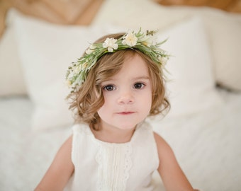Tieback Flower Crown Headband, Newborn Photo Prop, Baby Tieback Flower Crown, Baby Flower Crown, Toddler Flower Crown, Girls Flower Crown