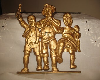 Plate wall musicians child Bavarian cast metal 1950s/60s
