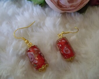 Earrings statement vintage and handmade Lampwork beads-red gold