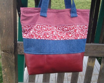 Maroon and Jean bag