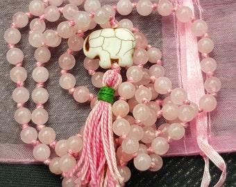 108 Hand Knotted Rose Quartz Mala Beads , 108 Mala Beads, Mala Necklace, Prayer Beads, Meditation Beads