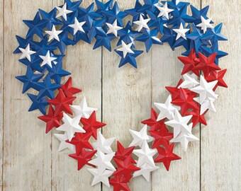 Patriotic 4th of July Memorial Day Metal Star Heart Wreath Door Decor