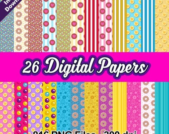 "SHOPKINS SHOPPIES - 26 Digital Papers 12x12"" jpeg files 300 dpi for Cardmaking, Scrapbooking, Party Decorations and More - Instant Download"