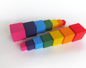 Wooden Blocks - Rainbow Blocks - Organic Wooden Toddler Toys - Waldorf Toy - Play Building Blocks - Baby Blocks - set of Fourteen