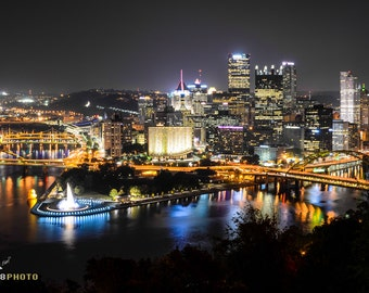 City Skyline, Pittsburgh Art, City Scape, Night Pictures, Urban Photography, Art Prints, City Lights, Home Decor, Large Wall Art, Modern